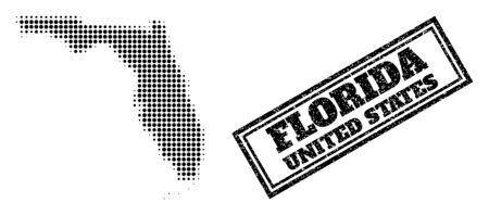 Halftone map of Florida State, and unclean stamp. Halftone map of Florida State constructed with small black spheric items. Vector watermark with unclean style, double framed rectangle,