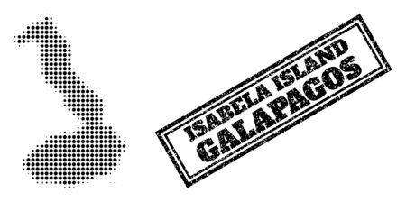 Halftone map of Galapagos - Isabela Island, and grunge watermark. Halftone map of Galapagos - Isabela Island generated with small black circle elements. Vector watermark with retro style,