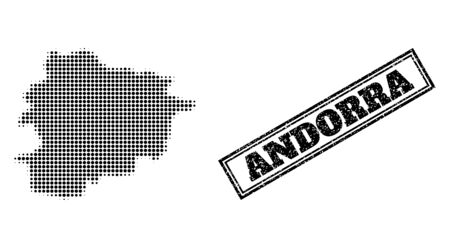 Halftone map of Andorra, and scratched seal stamp. Halftone map of Andorra generated with small black circle dots. Vector seal with scratched style, double framed rectangle, in black color.