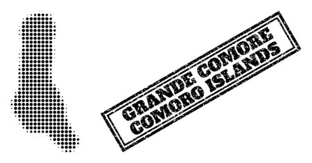 Halftone map of Grande Comore Island, and rubber watermark. Halftone map of Grande Comore Island generated with small black spheric dots. Vector watermark with scratched style,