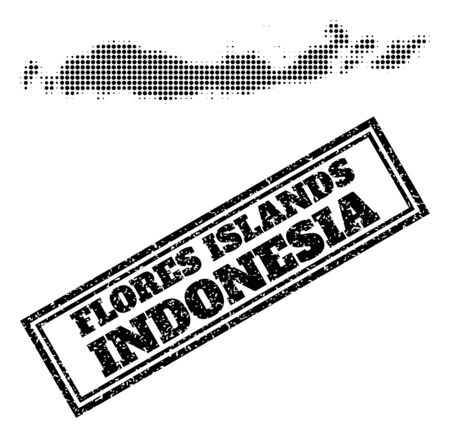 Halftone map of Indonesia - Flores Islands, and textured seal. Halftone map of Indonesia - Flores Islands made with small black spheric dots. Vector seal with distress style, double framed rectangle,