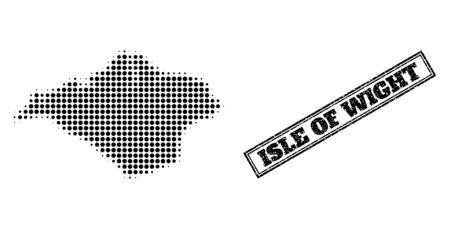 Halftone map of Isle of Wight, and unclean watermark. Halftone map of Isle of Wight made with small black round elements. Vector watermark with unclean style, double framed rectangle, in black color. Vetores
