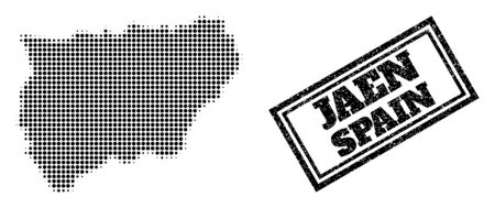 Halftone map of Jaen Spanish Province, and unclean seal. Halftone map of Jaen Spanish Province made with small black round items. Vector seal with retro style, double framed rectangle, in black color.