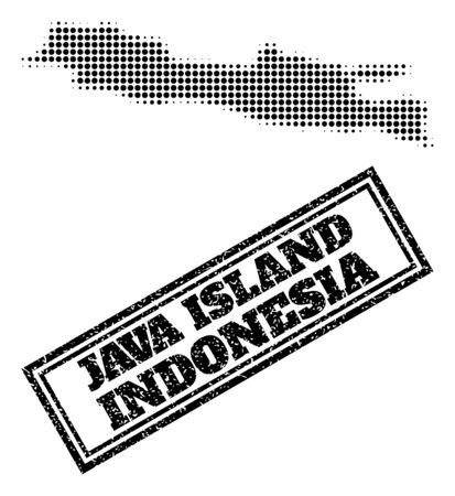 Halftone map of Java Island, and scratched seal stamp. Halftone map of Java Island designed with small black spheric pixels. Vector seal with retro style, double framed rectangle, in black color.