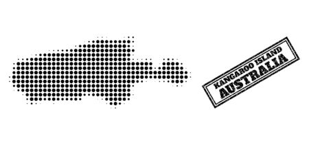 Halftone map of Kangaroo Island, and unclean seal stamp. Halftone map of Kangaroo Island constructed with small black spheric pixels. Vector seal with scratched style, double framed rectangle, 向量圖像