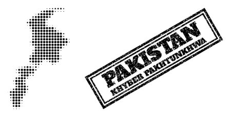 Halftone map of Khyber Pakhtunkhwa Province, and rubber seal. Halftone map of Khyber Pakhtunkhwa Province constructed with small black spheric pixels. Vector seal with corroded style, 向量圖像