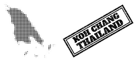 Halftone map of Koh Chang, and scratched seal stamp. Halftone map of Koh Chang made with small black round items. Vector seal with unclean style, double framed rectangle, in black color. 向量圖像