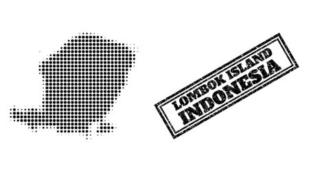 Halftone map of Lombok Island, and textured seal stamp. Halftone map of Lombok Island generated with small black round pixels. Vector imprint with retro style, double framed rectangle, in black color.