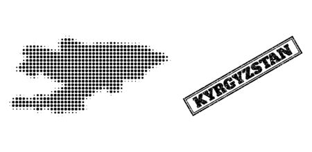 Halftone map of Kyrgyzstan, and scratched stamp. Halftone map of Kyrgyzstan designed with small black round dots. Vector imprint with scratched style, double framed rectangle, in black color.