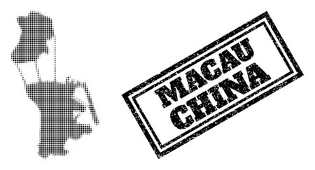 Halftone map of Macau, and unclean seal. Halftone map of Macau designed with small black spheric pixels. Vector seal with retro style, double framed rectangle, in black color. 向量圖像