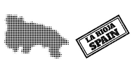 Halftone map of La Rioja Spanish Province, and rubber seal stamp. Halftone map of La Rioja Spanish Province constructed with small black spheric items. Vector seal with scratched style,