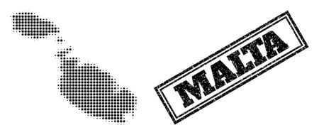 Halftone map of Malta, and dirty seal stamp. Halftone map of Malta designed with small black spheric items. Vector seal with unclean style, double framed rectangle, in black color.