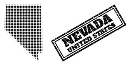 Halftone map of Nevada State, and unclean watermark. Halftone map of Nevada State constructed with small black circle items. Vector watermark with scratched style, double framed rectangle,