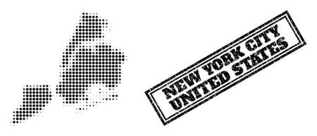 Halftone map of New York City, and grunge seal stamp. Halftone map of New York City generated with small black circle points. Vector seal with scratched style, double framed rectangle, in black color.