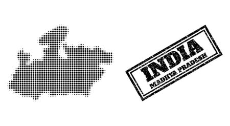 Halftone map of Madhya Pradesh State, and rubber watermark. Halftone map of Madhya Pradesh State made with small black spheric pixels. Vector watermark with unclean style, double framed rectangle, Illustration