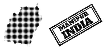 Halftone map of Manipur State, and rubber watermark. Halftone map of Manipur State constructed with small black round elements. Vector watermark with distress style, double framed rectangle,