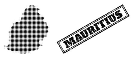 Halftone map of Mauritius Island, and textured seal. Halftone map of Mauritius Island designed with small black circle points. Vector seal with corroded style, double framed rectangle, in black color.