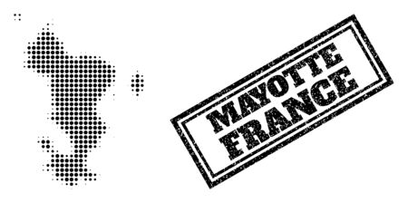 Halftone map of Mayotte Islands, and grunge seal stamp. Halftone map of Mayotte Islands made with small black round items. Vector seal with grunge style, double framed rectangle, in black color.
