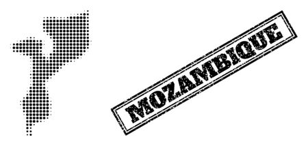 Halftone map of Mozambique, and dirty seal. Halftone map of Mozambique constructed with small black circle pixels. Vector seal with distress style, double framed rectangle, in black color.