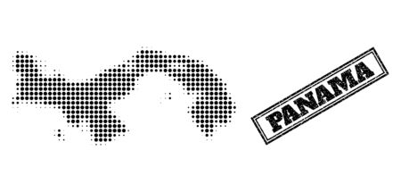 Halftone map of Panama, and grunge seal stamp. Halftone map of Panama generated with small black circle points. Vector seal with corroded style, double framed rectangle, in black color.