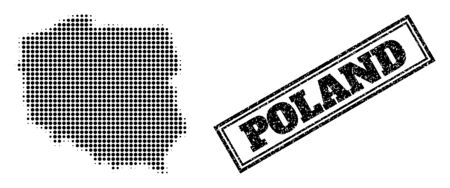 Halftone map of Poland, and scratched seal stamp. Halftone map of Poland constructed with small black circle pixels. Vector seal with scratched style, double framed rectangle, in black color. 向量圖像
