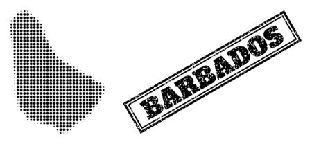 Halftone map of Barbados, and grunge watermark. Halftone map of Barbados generated with small black round dots. Vector watermark with scratched style, double framed rectangle, in black color.