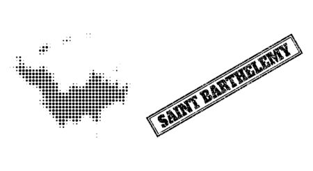 Halftone map of Saint Barthelemy, and scratched watermark. Halftone map of Saint Barthelemy constructed with small black spheric dots. Vector watermark with distress style, double framed rectangle,