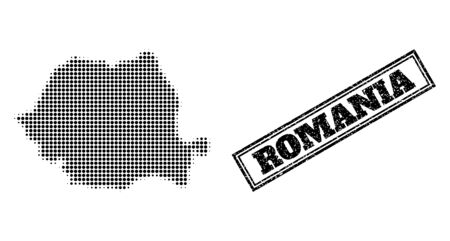 Halftone map of Romania, and grunge seal. Halftone map of Romania constructed with small black round points. Vector seal with grunge style, double framed rectangle, in black color.