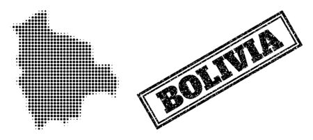 Halftone map of Bolivia, and dirty seal stamp. Halftone map of Bolivia made with small black circle elements. Vector seal with scratched style, double framed rectangle, in black color.