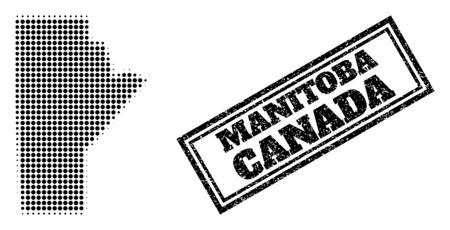 Halftone map of Manitoba Province, and unclean seal. Halftone map of Manitoba Province designed with small black round dots. Vector seal with distress style, double framed rectangle, in black color.