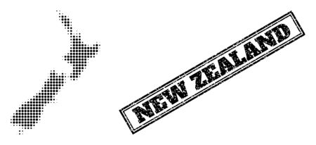 Halftone map of New Zealand, and rubber seal. Halftone map of New Zealand generated with small black spheric dots. Vector seal with scratched style, double framed rectangle, in black color.