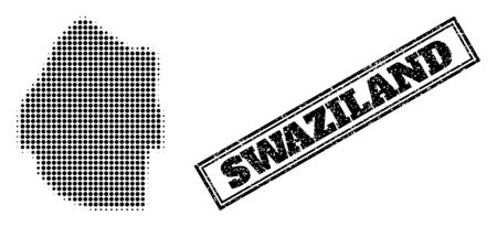 Halftone map of Swaziland, and grunge watermark. Halftone map of Swaziland designed with small black round points. Vector watermark with corroded style, double framed rectangle, in black color.