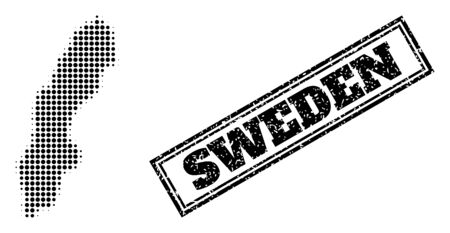 Halftone map of Sweden, and scratched seal. Halftone map of Sweden generated with small black spheric dots. Vector seal with scratched style, double framed rectangle, in black color.