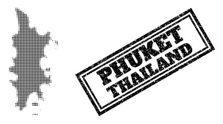 Halftone map of Phuket, and grunge seal stamp. Halftone map of Phuket constructed with small black circle pixels. Vector imprint with grunge style, double framed rectangle, in black color.