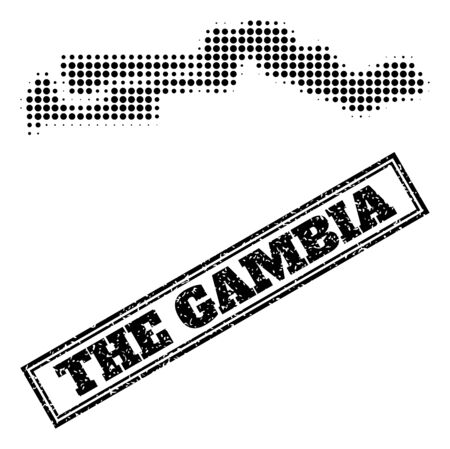 Halftone map of the Gambia, and scratched watermark. Halftone map of the Gambia made with small black circle pixels. Vector watermark with distress style, double framed rectangle, in black color.