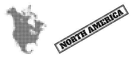 Halftone map of North America, and dirty seal stamp. Halftone map of North America made with small black round pixels. Vector seal with grunge style, double framed rectangle, in black color.