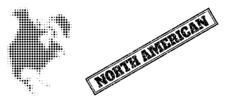 Halftone map of North America, and dirty seal stamp. Halftone map of North America made with small black spheric points. Vector seal with corroded style, double framed rectangle, in black color.