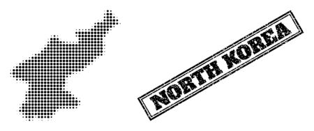 Halftone map of North Korea, and grunge seal. Halftone map of North Korea generated with small black spheric points. Vector seal with retro style, double framed rectangle, in black color. 向量圖像