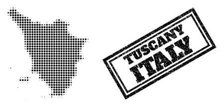 Halftone map of Tuscany region, and dirty seal. Halftone map of Tuscany region made with small black circle items. Vector seal with unclean style, double framed rectangle, in black color.