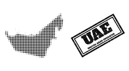 Halftone map of United Arab Emirates, and unclean seal stamp. Halftone map of United Arab Emirates designed with small black round elements. Vector watermark with unclean style,