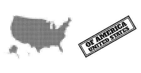 Halftone map of USA territories, and rubber watermark. Halftone map of USA territories generated with small black circle elements. Vector watermark with grunge style, double framed rectangle, 向量圖像