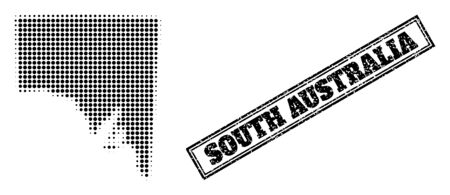 Halftone map of South Australia, and dirty seal. Halftone map of South Australia generated with small black round elements. Vector seal with scratched style, double framed rectangle, in black color. 向量圖像