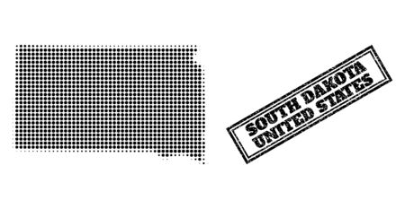 Halftone map of South Dakota State, and unclean seal stamp. Halftone map of South Dakota State generated with small black spheric pixels. Vector seal with retro style, double framed rectangle,
