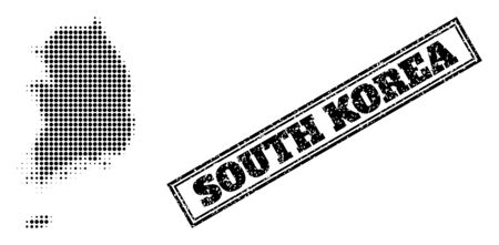 Halftone map of South Korea, and rubber watermark. Halftone map of South Korea constructed with small black circle items. Vector watermark with corroded style, double framed rectangle, in black color. 向量圖像