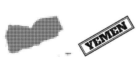Halftone map of Yemen, and grunge seal. Halftone map of Yemen made with small black circle elements. Vector watermark with scratched style, double framed rectangle, in black color.