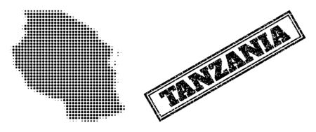 Halftone map of Tanzania, and unclean seal. Halftone map of Tanzania made with small black round items. Vector watermark with unclean style, double framed rectangle, in black color.