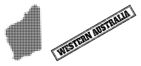 Halftone map of Western Australia, and dirty seal. Halftone map of Western Australia made with small black spheric pixels. Vector seal with distress style, double framed rectangle, in black color. 向量圖像