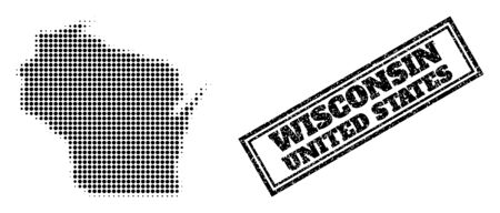 Halftone map of Wisconsin State, and unclean stamp. Halftone map of Wisconsin State generated with small black spheric points. Vector seal with unclean style, double framed rectangle, in black color.