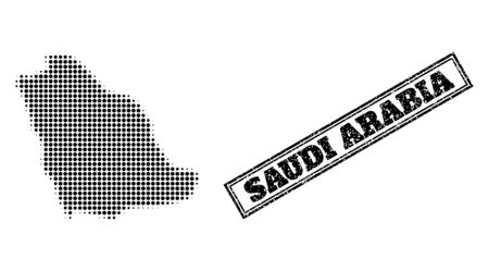 Halftone map of Saudi Arabia, and unclean seal. Halftone map of Saudi Arabia generated with small black round pixels. Vector seal with grunge style, double framed rectangle, in black color.