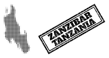 Halftone map of Zanzibar Island, and dirty seal. Halftone map of Zanzibar Island generated with small black circle elements. Vector seal with grunge style, double framed rectangle, in black color.